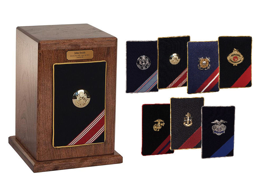 Military Wood Urn with Military Branch Emblem